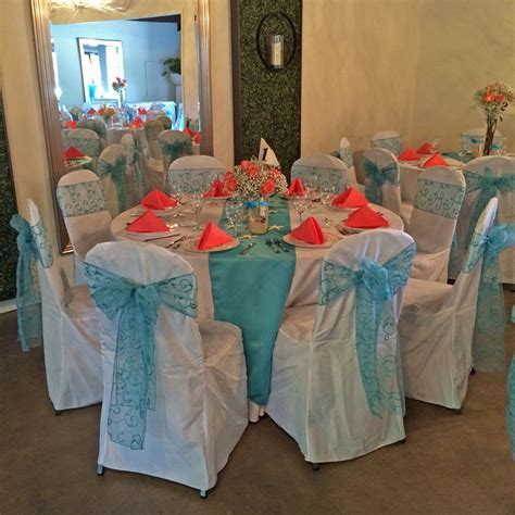 Pensacola courtyard wedding with turquoise and coral