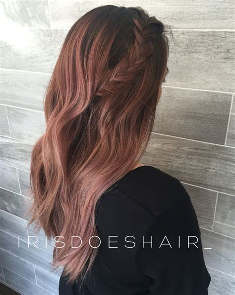 rose gold lowlights on dark hair balayage with rose gold highlights