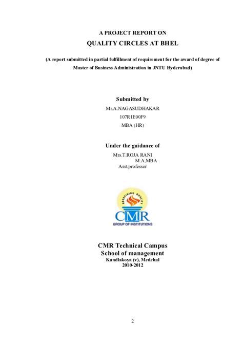 Myu Mba Enrolment Report by Quality Circles At Bhel