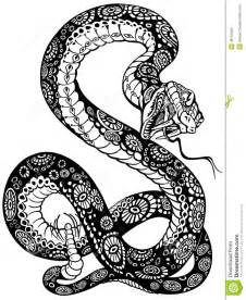 Snake With Open Mouth Black And White Tattoo Illustration sketch template