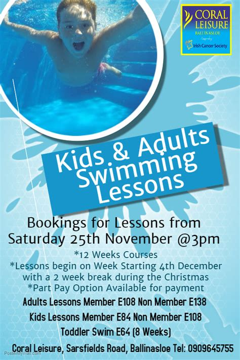 Coral Leisure Ballinasloe News Swim Lesson Flyer Template Free