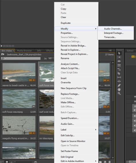 adobe premiere pro how to split a clip splitting stereo audio into dual mono in premiere pro