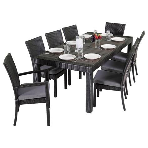Shop RST Brands Deco 9 Piece Gray Wood Frame Wicker Patio