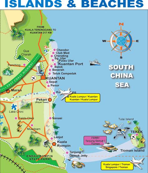 eastana cherating resort map pahang map of attractions listed by malaysiamap org