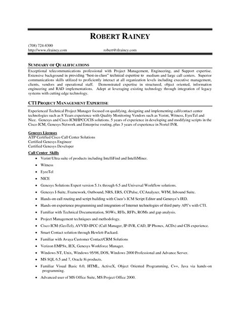 project management expertise resume summary of qualifications cti management