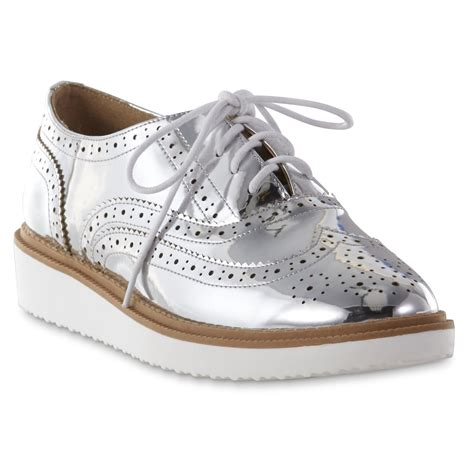 silver oxford shoes womens metaphor s miranda mirror silver metallic oxford shoe