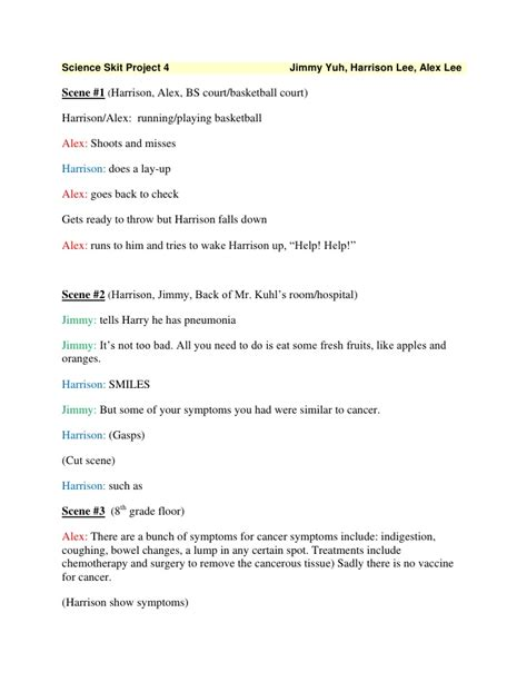 skit script template science skit script 2