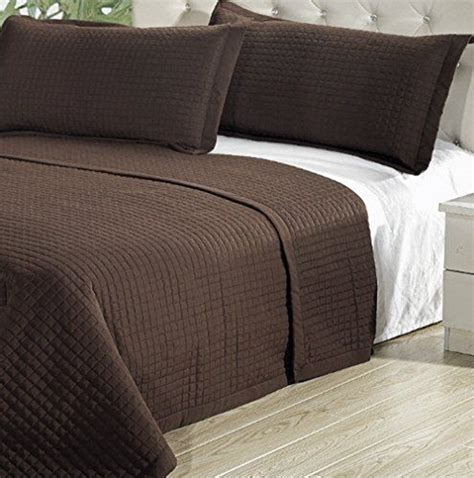 Lightweight Quilt Sets Modern Solid Brown Lightweight Microfiber Bedding