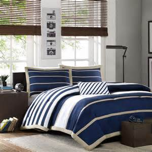sporty blue white navy tan stripe soft comforter set boys