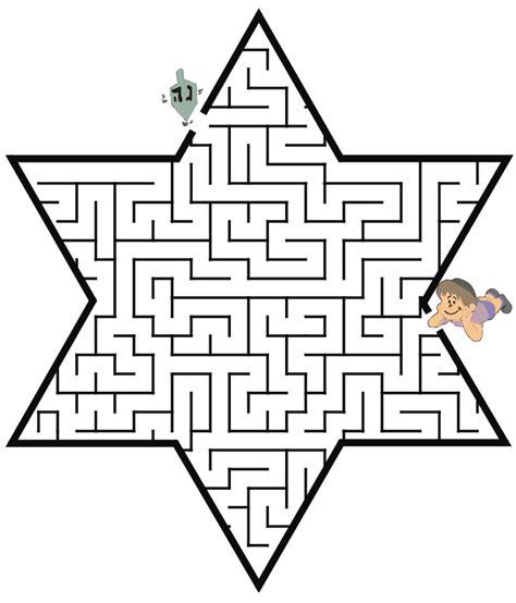 coloring page of the star of david hanukkah maze star of david shapedreidel coloring pages