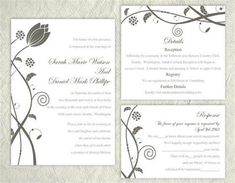 diy wedding invitation template set editable text word