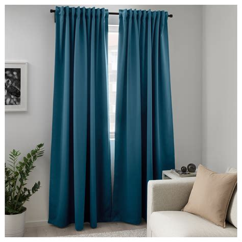 Ikea Textiles Curtains Decorating Majgull Block Out Curtains 1 Pair Blue Green 145x250 Cm Ikea