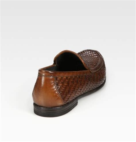 mens woven leather loafers to boot woven leather loafers in brown for cognac lyst