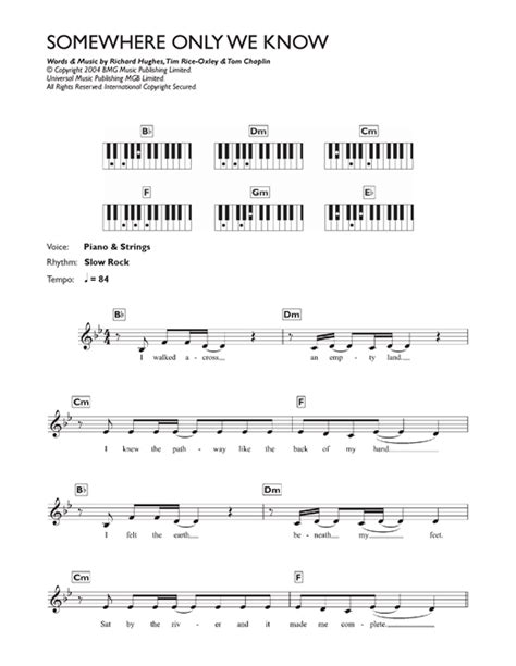tutorial piano somewhere only we know somewhere only we know sheet music by lily allen keyboard