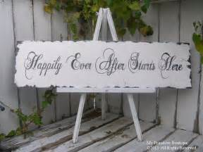 happily after starts here sign wedding sign shabby