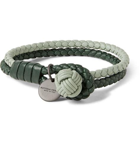 Bottega Bracelet lyst bottega veneta two tone intrecciato leather wrap bracelet in green for