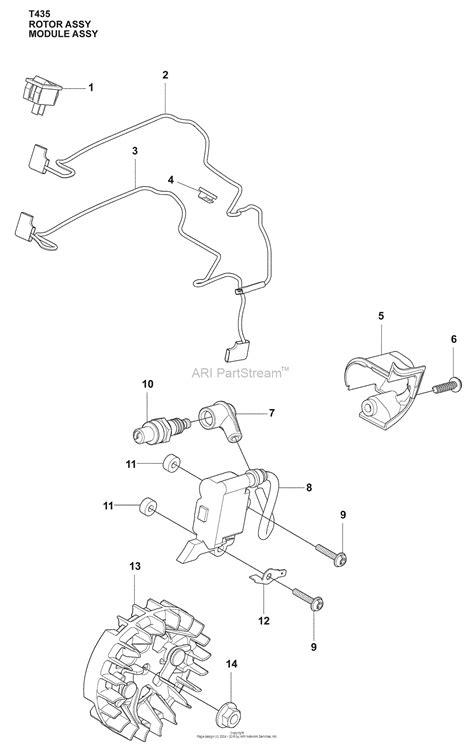 husqvarna 435 parts diagram husqvarna t 435 2009 02 parts diagram for ingition system