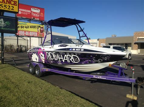 ski boat names ideas custom design quot ride hard quot joker wakeboard boat wrap boat