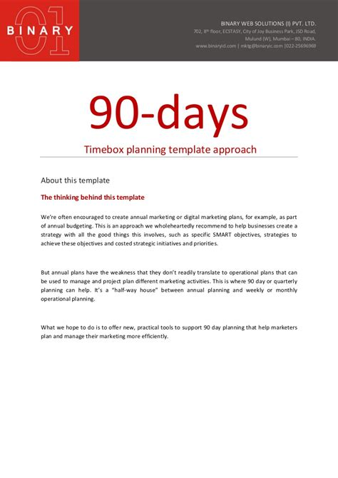30 60 90 Day Sales Plan Template Examples