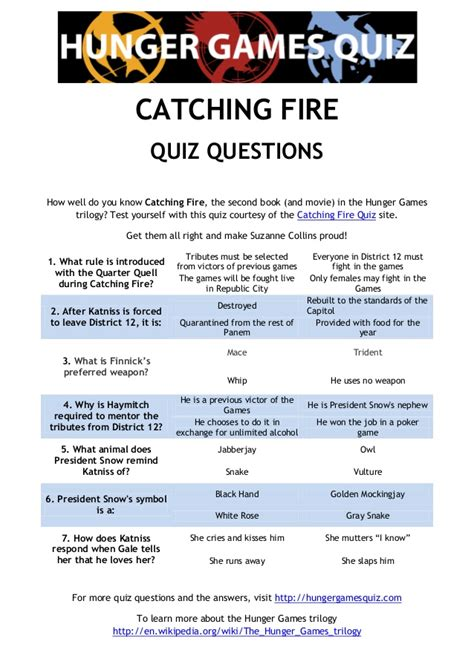 printable hunger games trivia questions and answers catching fire quiz questions