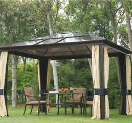 Gazebo Net Curtains Outsunny 12 039 X10 039 Top Gazebo Deluxe Roof With Mosquito Netting Curtains New Ebay