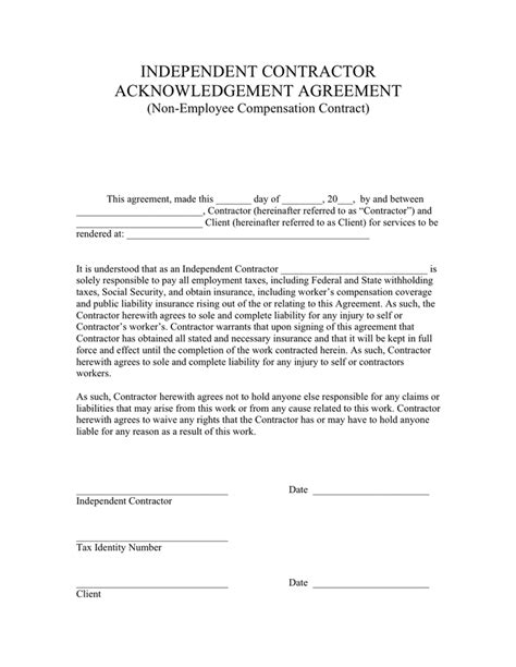 acknowledgement agreement template independent contractor acknowledgement agreement in word