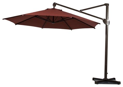 11 Cantilever Patio Umbrella With Base Abba Patio 11 Ft Offset Cantilever Umbrella With Vertical Tilt And Cross Base Contemporary