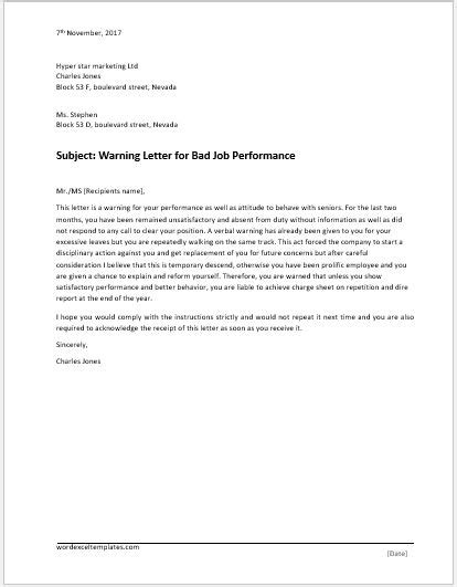 violation  discipline warning letter word excel