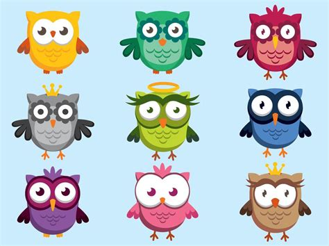 cute owl character vectors vector art graphics