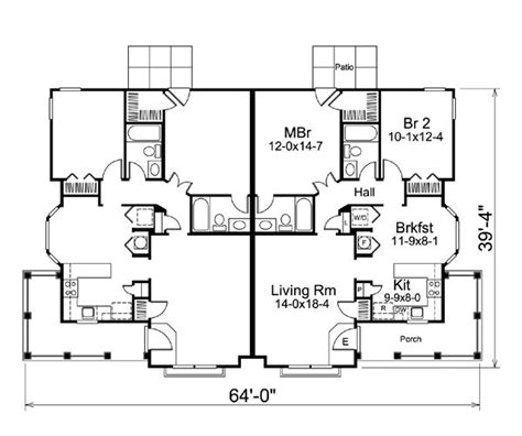 ranch duplex floor plans country ranch multi family plan 95864 country floor