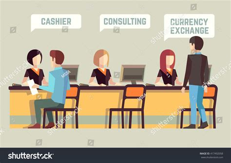 bank consulting bank interior cashier consulting currency exchange stock