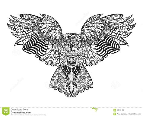 eagle mandala coloring pages hand drawn cute owl portrait for adult coloring stock
