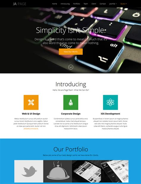Ja Onepage One Page Joomla Template For Business Joomla Templates And Extensions Provider Joomla One Page Template Free