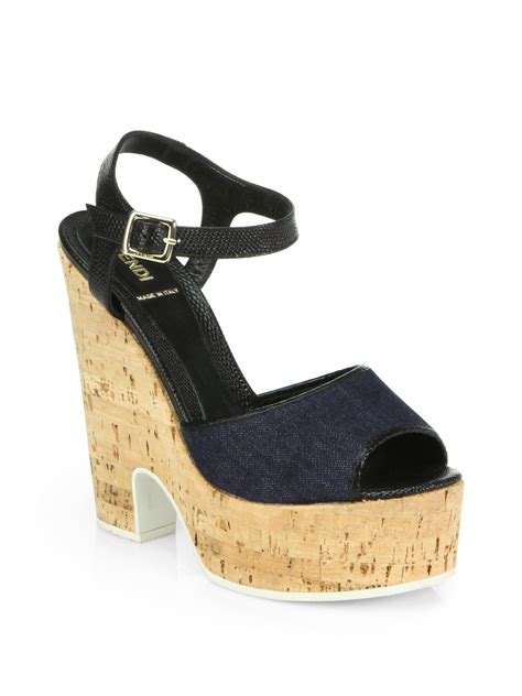 denim wedge sandals fendi cecilia denim cork wedge sandals in blue blue black