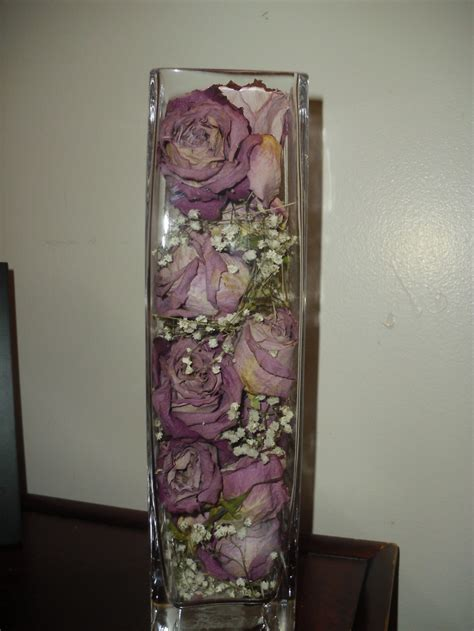 Flowers Inside Glass Vase by I Dried Roses And Baby S Breath I Used An Vase And Organized Them For A Center That