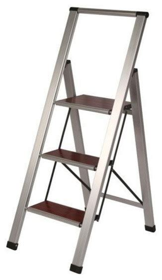 modern wooden step stool wood aluminum step stool ladder 3 steps modern