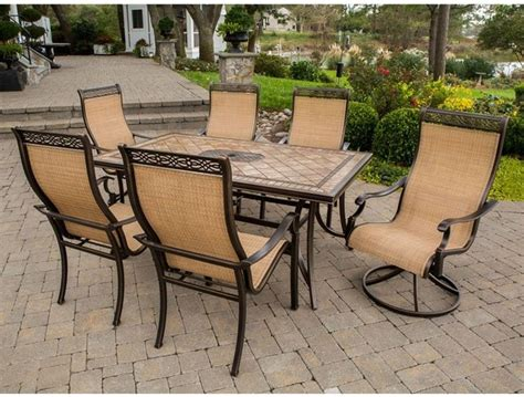 hanover monaco aluminum dining set seats 6 multicolor