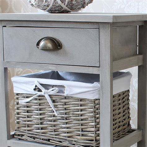 Wicker Basket Drawer Unit by Vintage Grey Range One Drawer With Two Wicker Baskets