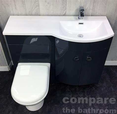 grey p shape 1100mm curved vanity set bathroom suite sink