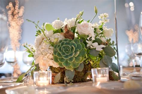 Green And White Wedding Centerpiece With Succulent Succulent Wedding Centerpiece