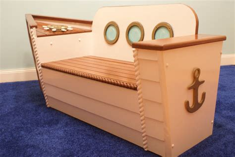Nautical toy box bench by adamz originals beach style kids storage benches and toy boxes