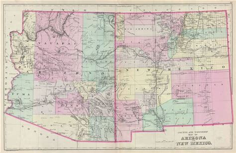 road map of arizona and new mexico arizona and new mexico geographicus antique maps