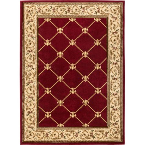 red accent rug well woven timeless fleur de lis red 3 ft 11 in x 5 ft