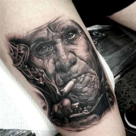 owl tattoo matt jordan realism style detailed smoking man tattooimages biz