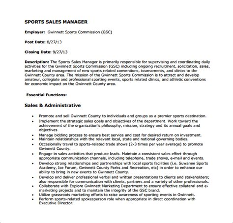 11 sales manager job description templates free sle