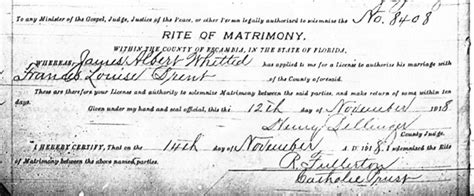 Pensacola Marriage Records Healy S Genealogy Whitted Brent Marriage Certificate