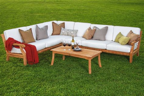 wooden garden sofa set 5 pc sectional sofa set teakwood teak wood garden indoor
