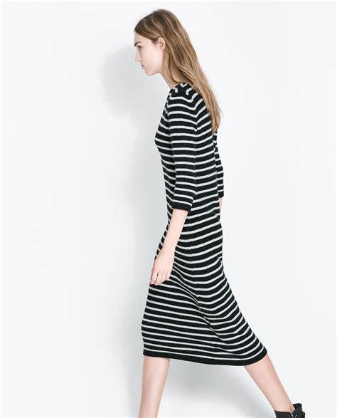 Zara Striped Dress zara striped dress in black lyst