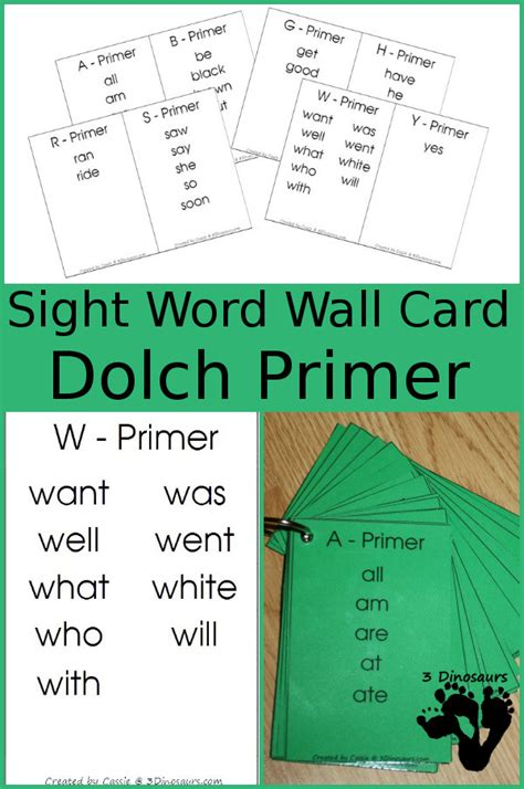 Wall Cards - free dolch primer sight word wall cards 3 dinosaurs