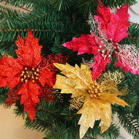 clear poinsetta holiday flower xmas lights hollow glitter poinsettia flower tree wedding decoration ornament